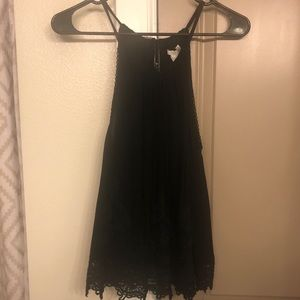 Black Lace Tank with Tassels